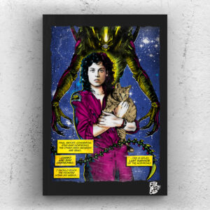 Ellen Ripley from Alien movie Pop Art Original handmade Poster Artwork Cult Film. Ridley Scott, Sigourney Weaver, 80s movie, 1979, Xenomorph, Aliens, Alternative Movie Poster, Science Fiction, Sci-Fi Horror