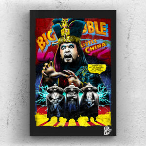 David Lo Pan from Big Trouble in Little China movie Pop Art Original handmade Poster Artwork Cult Film. John Carpenter, Kurt Russell, Kim Cattrall, Jack Burton, Pork Chop Express, 80s movie, 1986, action movie, fantasy movie, martial arts.