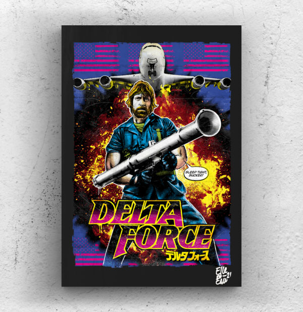 Scott McCoy from The Delta Force movie Pop Art Original handmade Poster Artwork Cult Film. 1986, Chuck Norris, Cannon Films, Action Movie, 80s, Alternative Movie Poster, Rambo, Jean Claude Van Damme, Missing in Action, Invasion USA